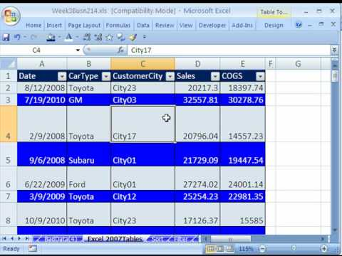 Highline Excel Class 15: Excel 2007 Tables 7 Examples