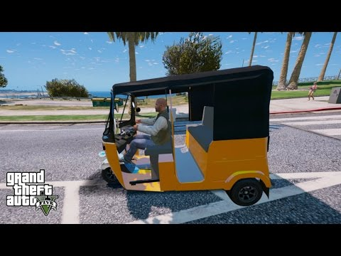 GTA 5 REAL LIFE MOD #163 NEW TUK TUK(AUTO RICKSHAW) DRIVER JOB