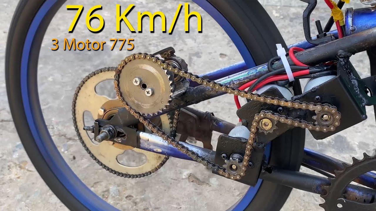 Chế xe đạp 3 Motor điện 775 tốc độ 75km/h   DIY Make Electric Bike using motor
