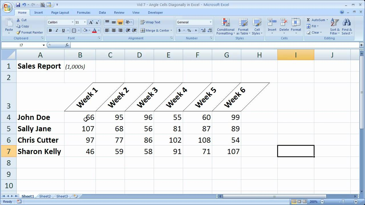 Excel Formatting Tip 7 Angle Cells Diagonally In Excel