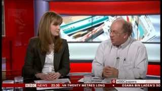 "BBC News ""The Papers"" discussion of the Farage vs Clegg debate"