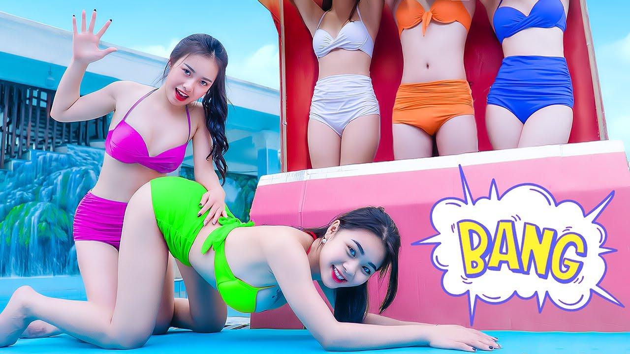 Download FUNNY BIG BROTHER JACKPOT PRANK BATTLE NERF ATM Tiktok Girl Nerf Guns PREGNANT GIRL Green Girl Nerf