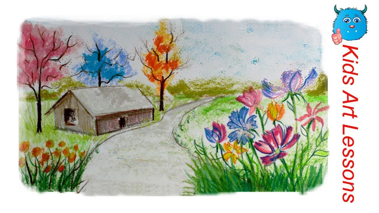 How to draw a scenery of spring season village landscape for Easy spring pictures to draw