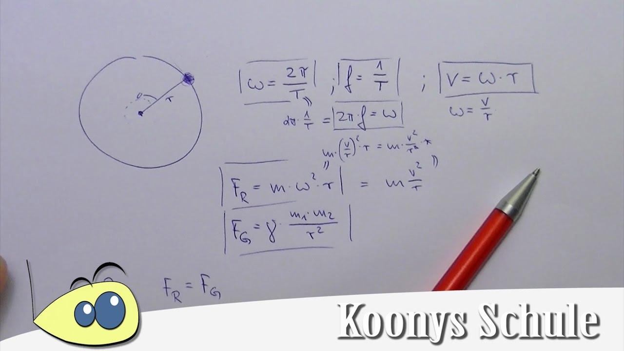 Radialkraft, Formeln bei Kreisbewegungen, Übersicht - YouTube