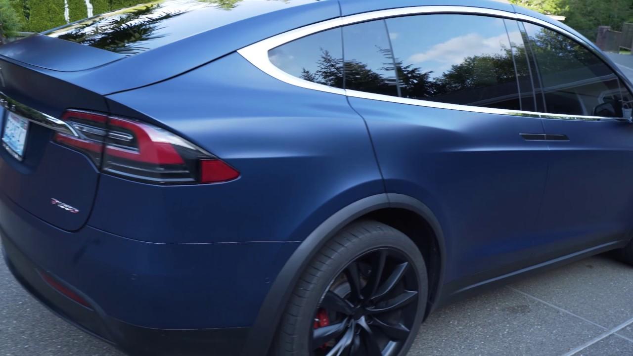 Tesla Model X P100D - blue with matte protective coating ...