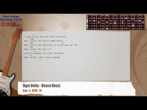 Ogni Volta - Vasco Rossi Guitar Backing Track with chords and lyrics