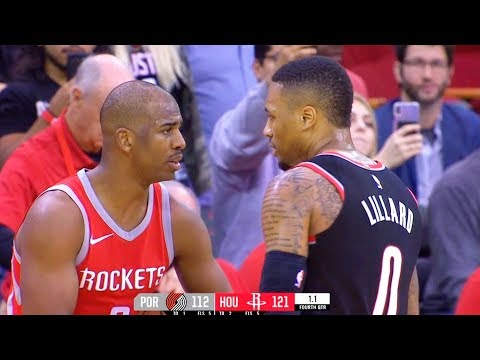 Chris Paul and Damian Lillard EXCHANGE WORDS & ALMOST FIGHT After Paul Scores a Basket Up 7 Points!