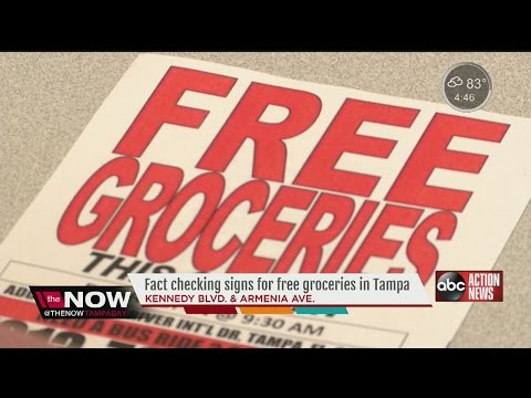 Tampa church posts signs to give away free groceries