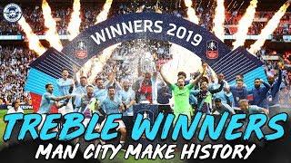 HISTORIC DOMESTIC TREBLE WINNERS   MAN CITY 6-0 WATFORD FA CUP FINAL