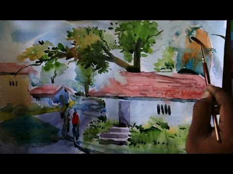 Easy water color painting scenery home with tree for Easy but beautiful paintings