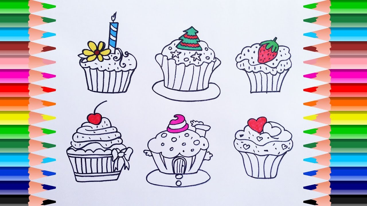 How To Draw Cupcakes Colors and Coffee Maker. Coloring Book for ...