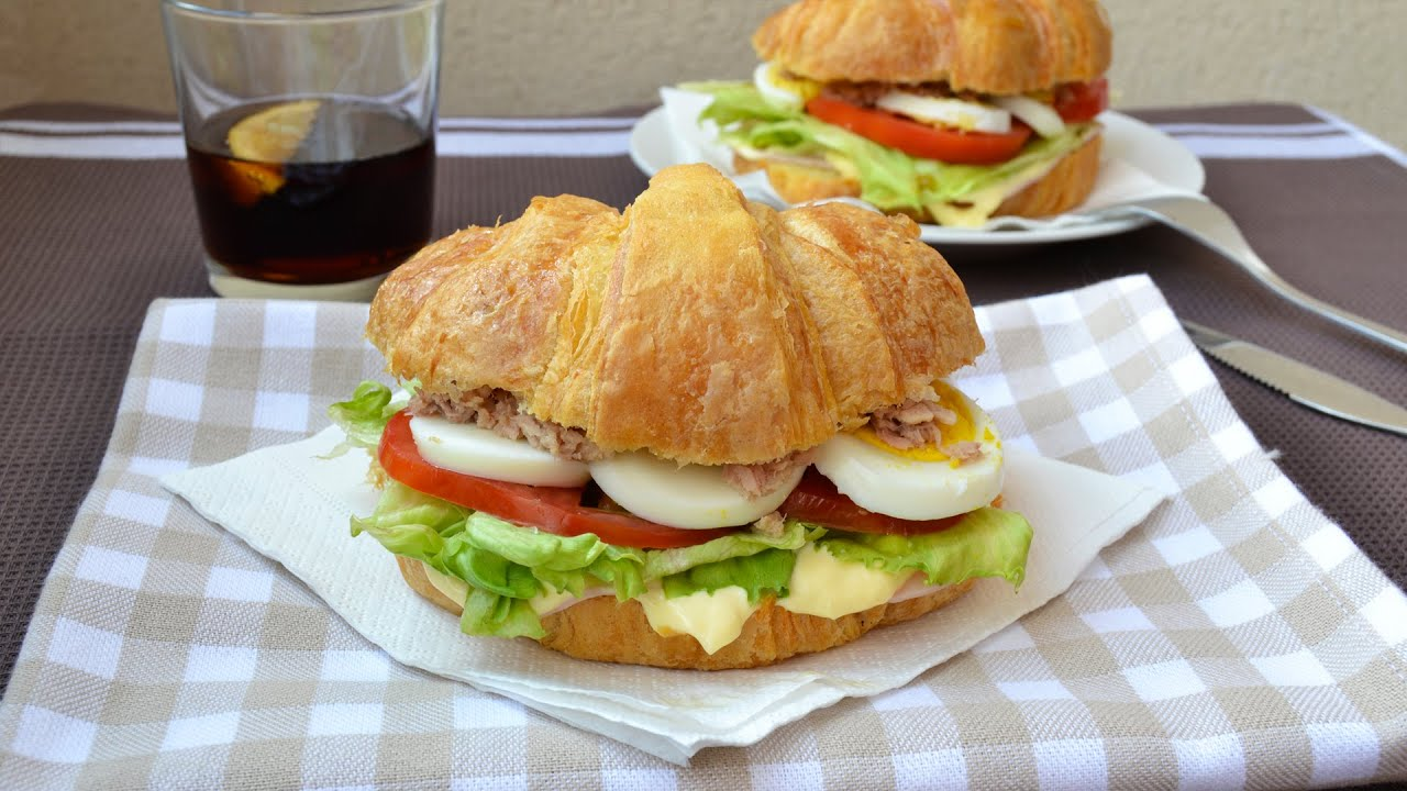 Ham tuna egg salad on croissant quick easy for Tuna and egg sandwich