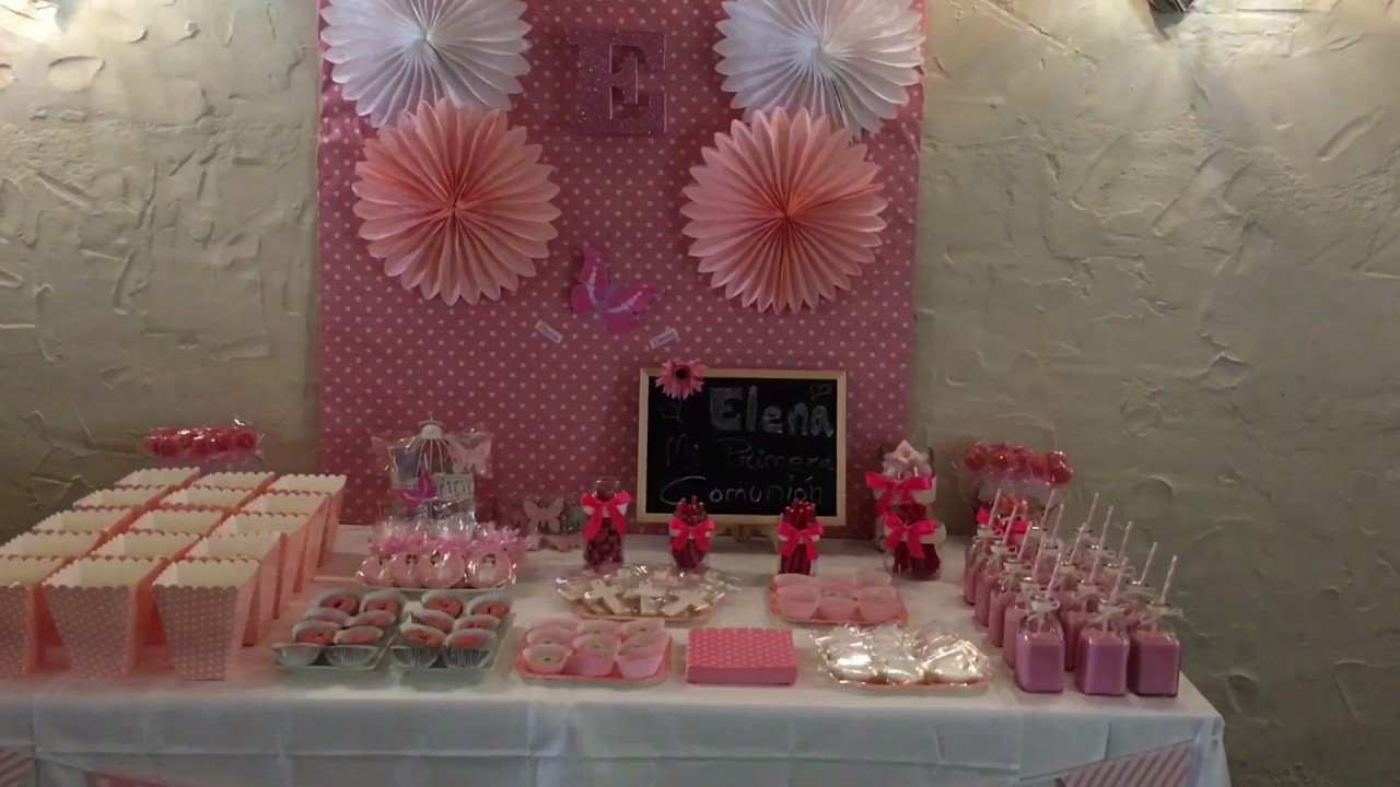 Candy bar comuni n ni a mesa dulce galletas golosinas for Mesa de chuches comunion nina