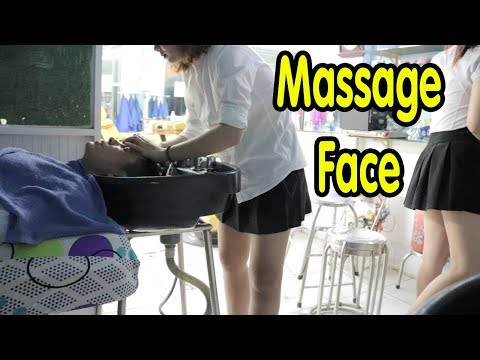 Barber Shop Massage Face & Wash Hair in Vietnam by Cute Tiny Girl