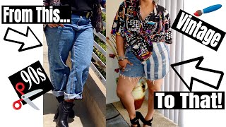 Cardi B Inspired 90s DIY Vintage Shorts | How to Distress Vintage Denim | UpCycling