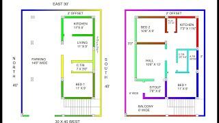 30 × 40 west face house plan map naksha with car parking