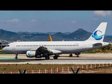 WET LEASE + GO AROUND!!! Avion Express A320 LY-VEV Take-Off Barcelona Airport