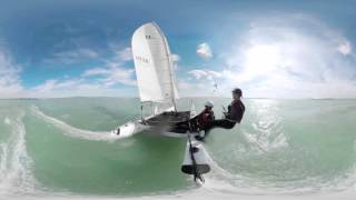 16 knots boat speed with a catamaran - 360 Video
