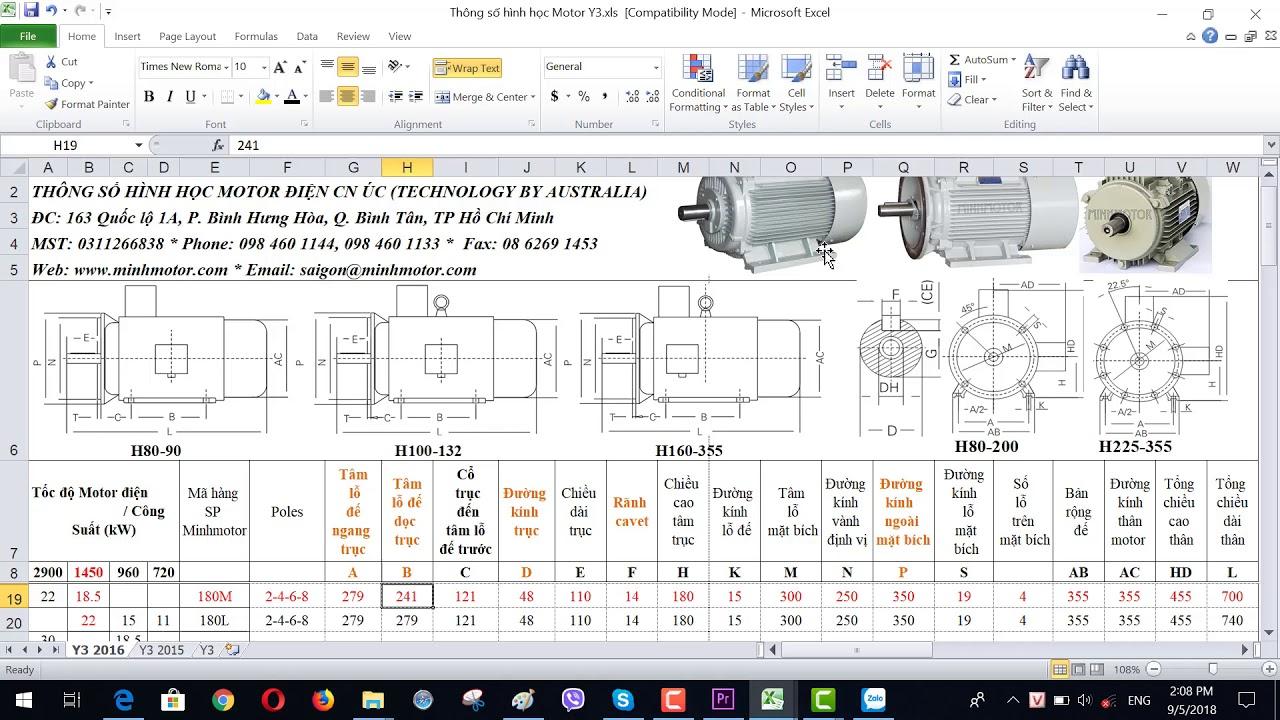 Bản vẽ kỹ thuật động cơ điện 18.5 kw 25 HP 1400-1500 vòng phút, MINHMOTOR 0968140191.