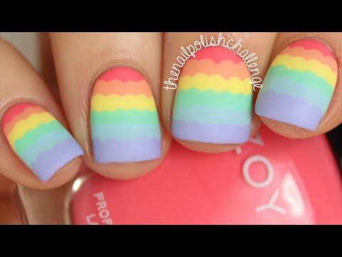 Rainbow Ruffle Nail Art Tutorial || THE NAIL POLISH CHALLENGE