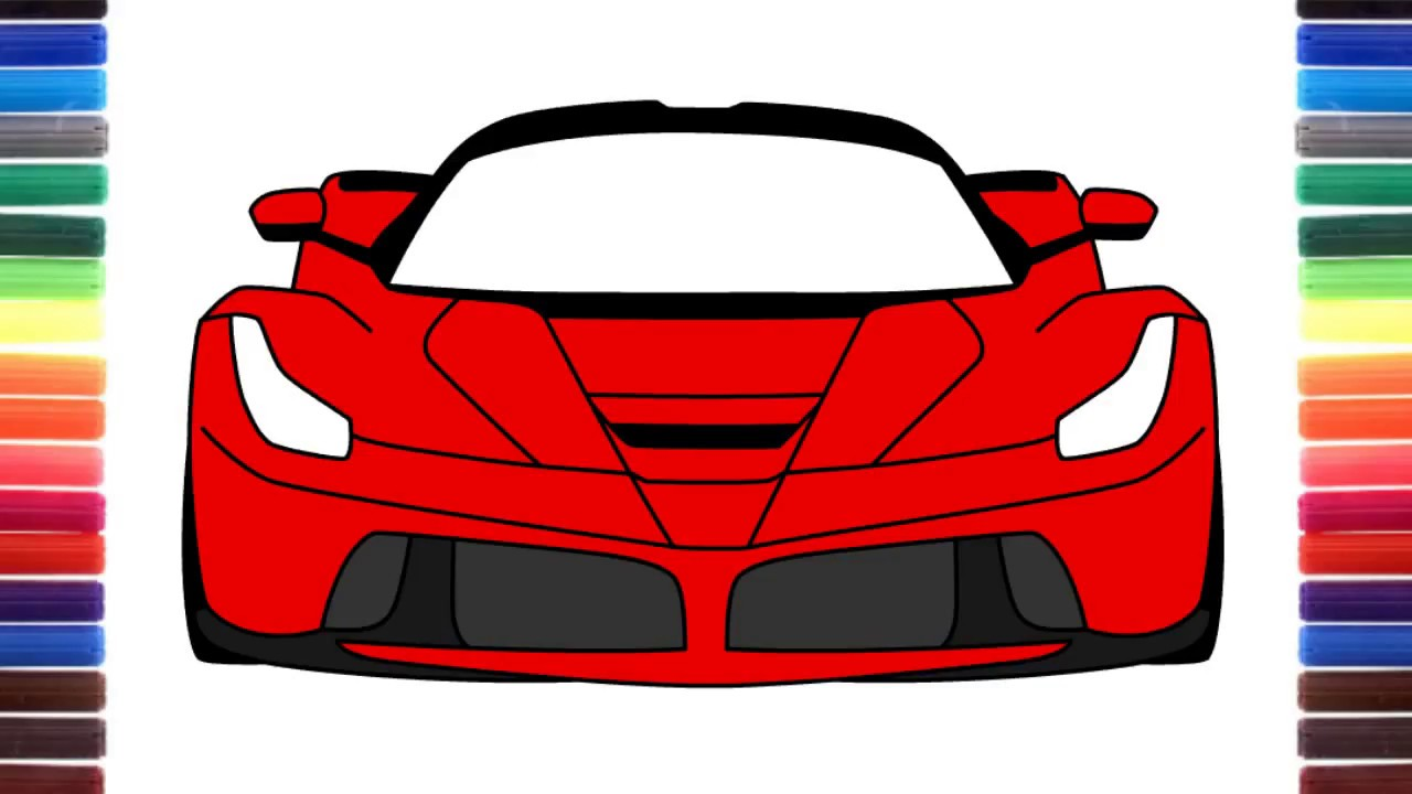 How To Draw Ferrari Laferrari Front View Step By Step Youtube