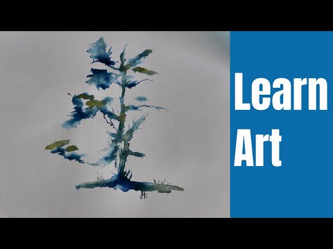Easy Watercolor Tutorial / Wet on Wet Abstract Tree Painting / How 2.