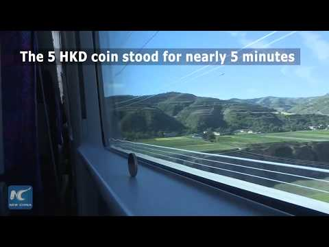 Coin test on China's newly launched high-speed railway