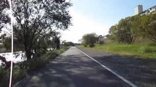 実時間。 行基大橋から南海高野線までの間の河川敷に舗装道ができたので...