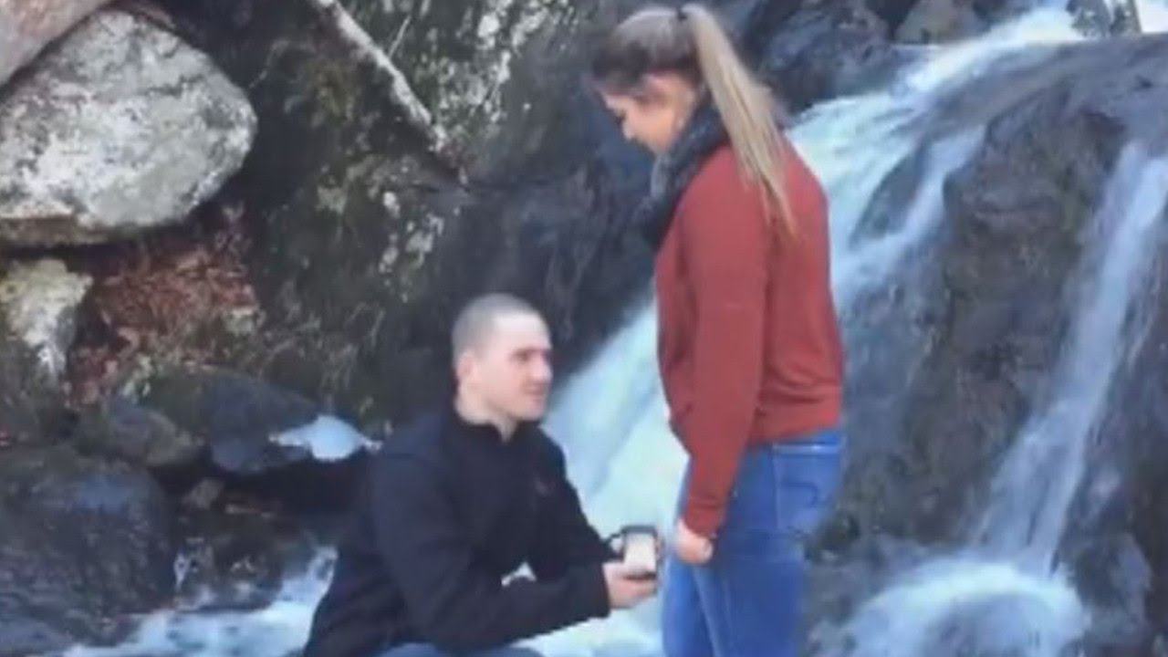 proposal fail engagement ring falls into water ruining