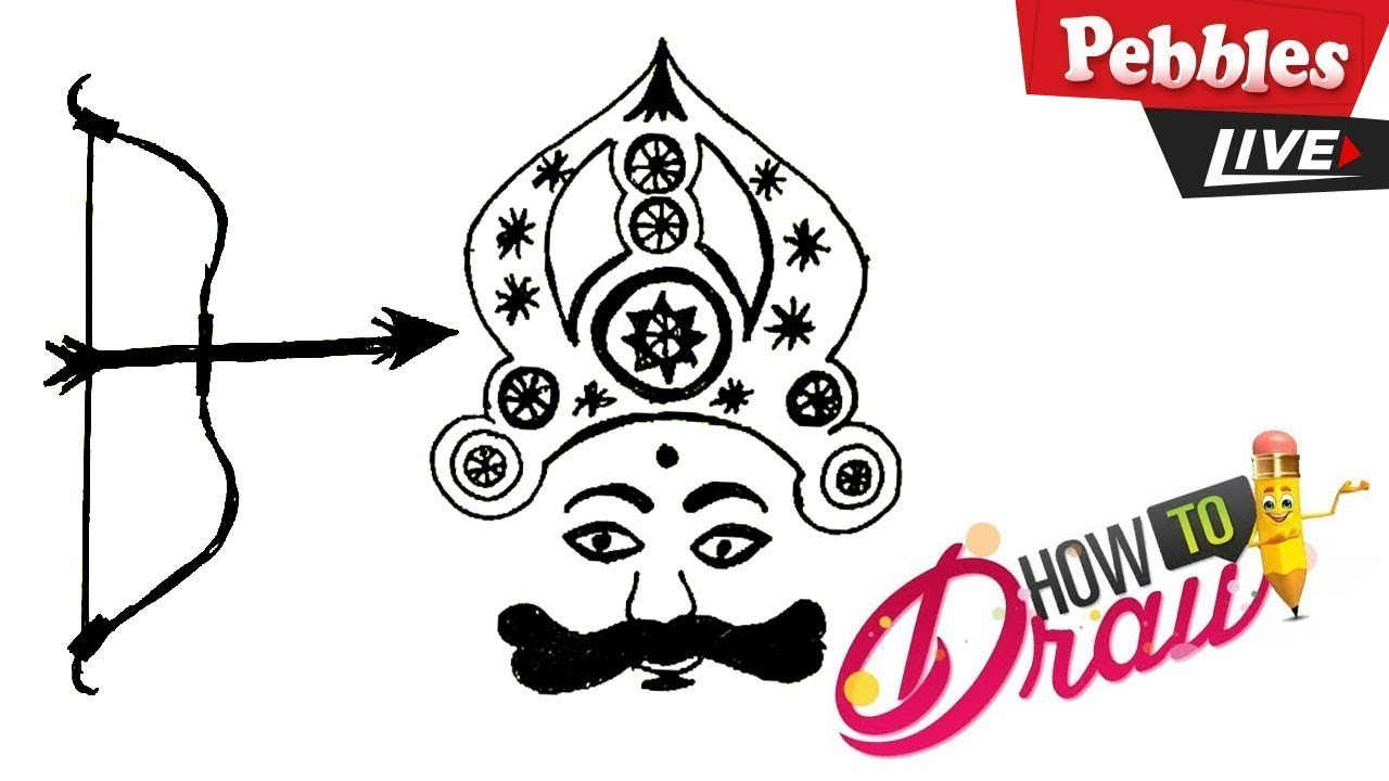 How to Draw Dussehra Drawing   Ravana drawing   dussehra drawing for kids #1