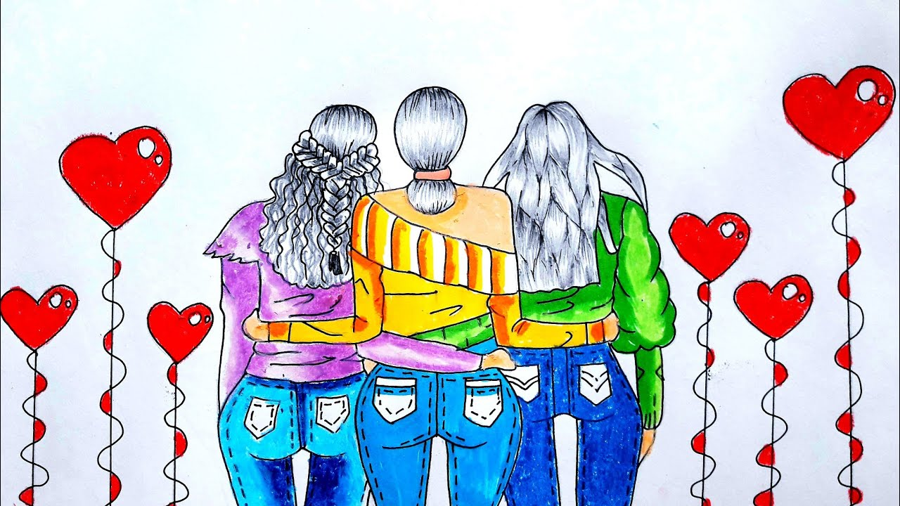 How To Draw Friendship Day Friendship Day Drawing Three Best Friends Youtube