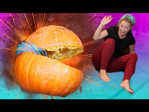 INSANE DIY EXPLODING A GIANT PUMPKIN WITH RUBBER BANDS   CRAZY Experiment   NICOLE SKYES