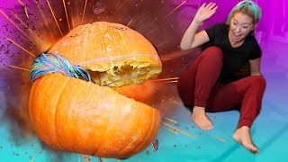 INSANE DIY EXPLODING A GIANT PUMPKIN WITH RUBBER BANDS |  CRAZY Experiment