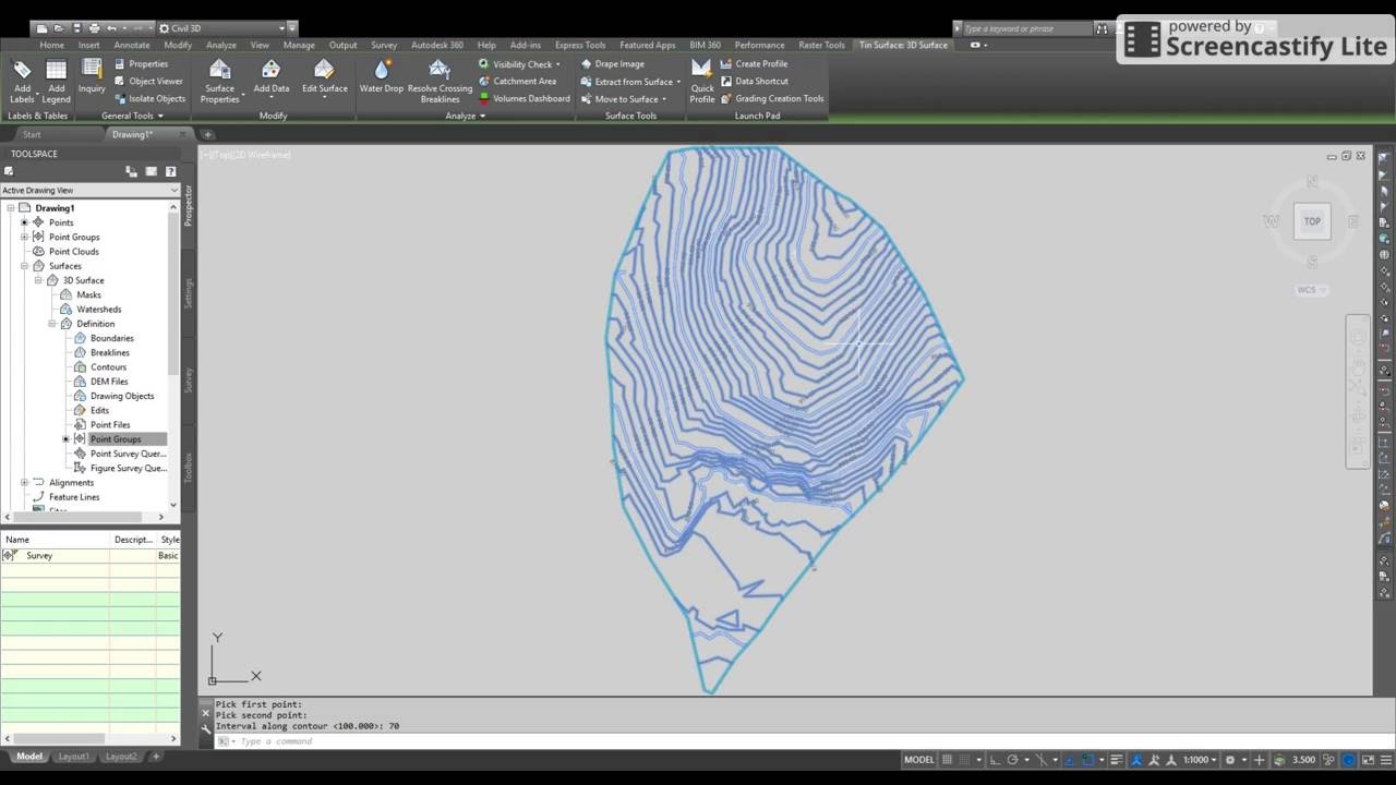 Contour Line Drawing In Autocad : How to create d surface contours and contour labels autocad