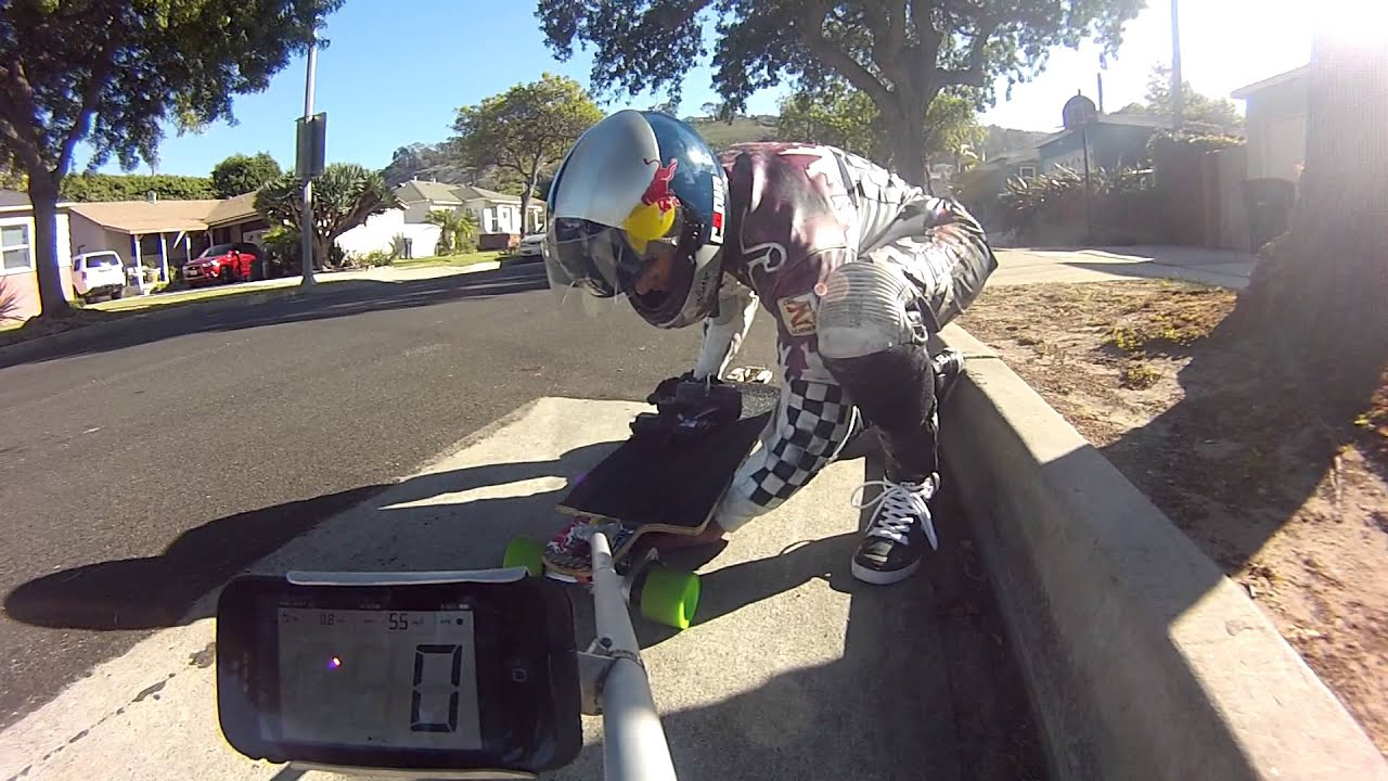 Testing for worlds fastest electric skateboard 55mph 88.5kph Aug. 2014  YouTube