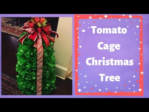 tree with a tomato cage with deco mesh