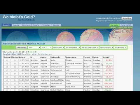 Wobleibtsgeld De Das Kostenlose Online Haushaltsbuch Youtube
