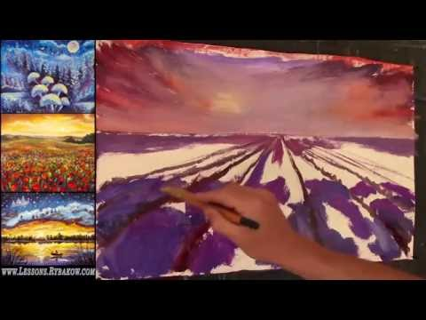 Free Oil Painting Lesson In Real Time – Lavander field on sunset