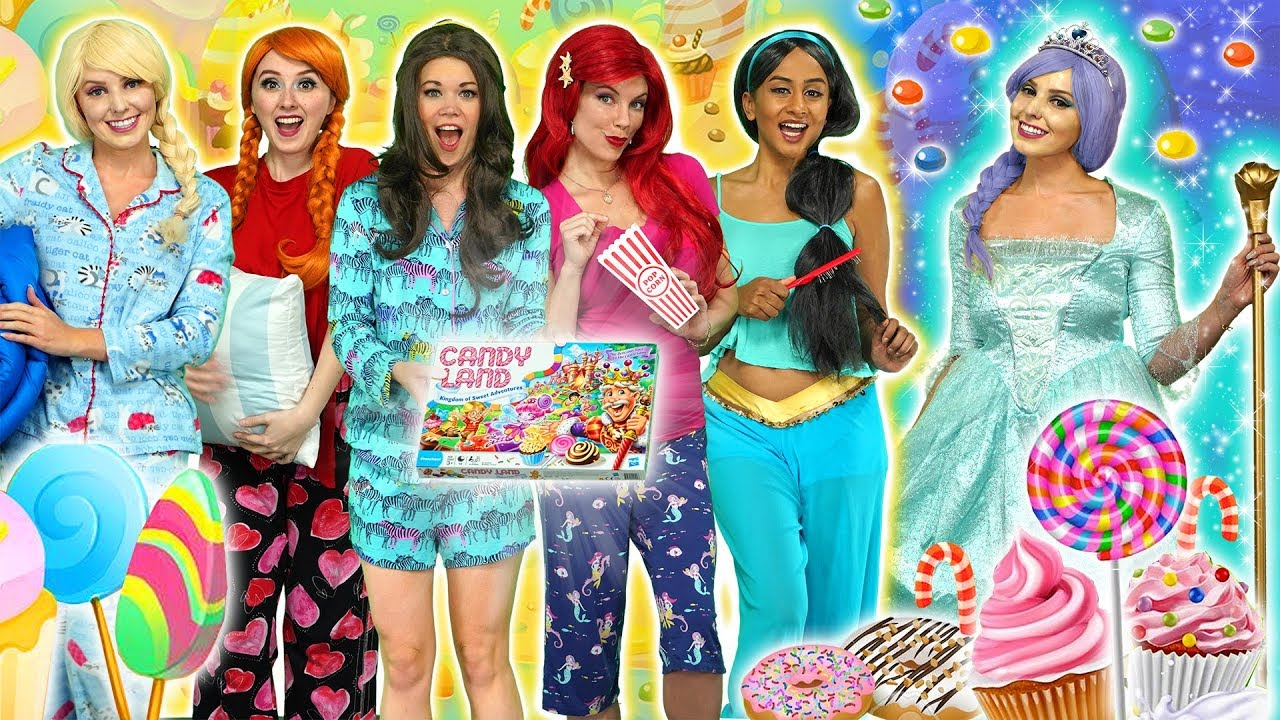 Download DISNEY PRINCESS PAJAMA PARTY. (Candyland Frozen Elsa and Anna, Belle, Ariel, Jasmine and Maleficent)