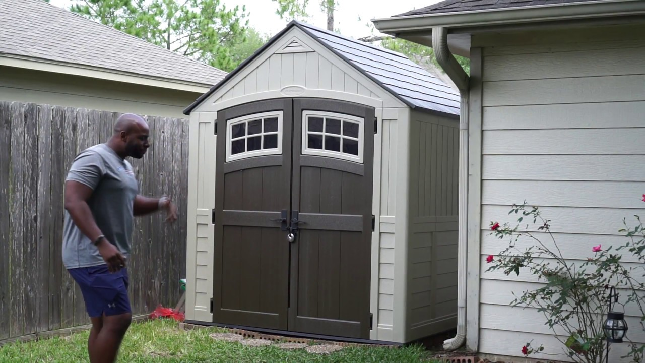 Garden Sheds 7x7 suncast sutton 7x7 ft. resin storage shed - youtube