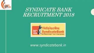 Syndicate Bank Recruitment 2018