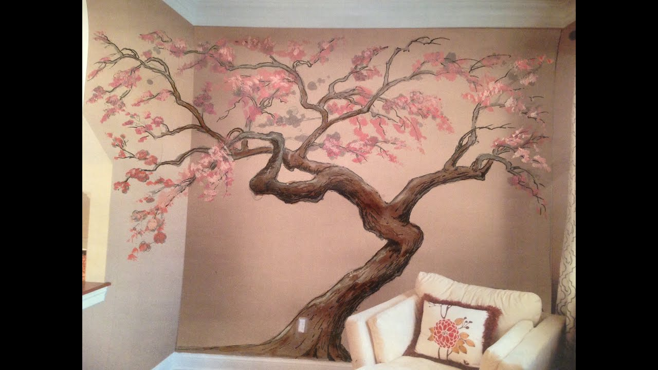 Beautiful Cherry Blossom Tree Mural Time Lapse Artisan Rooms   YouTube Part 11