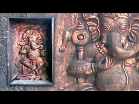 Handmade Wall Decal Relief Murals In Metallic Copper