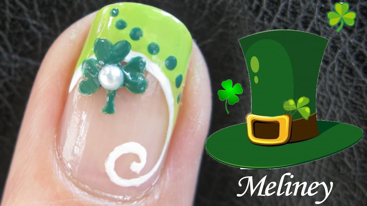 French tip manicure clover nail tutorial st patricks day french tip manicure clover nail tutorial st patricks day nail art design easy simple youtube prinsesfo Gallery