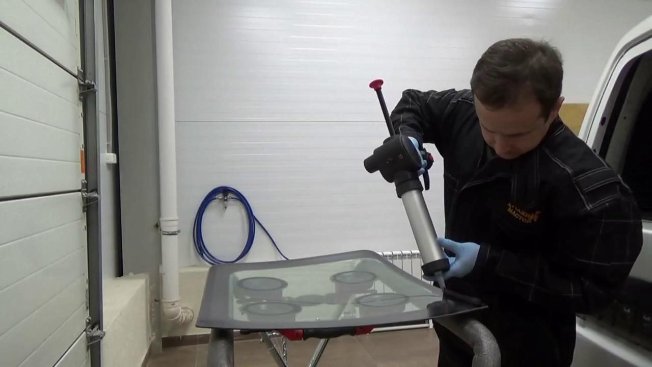 Технология вклейки стекол оборудования «Русский мастер» и материалов «HOLEX»