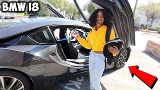 PICKING UP MY LITTLE SISTER FROM HIGH SCHOOL IN A BMW i8 !!!!!