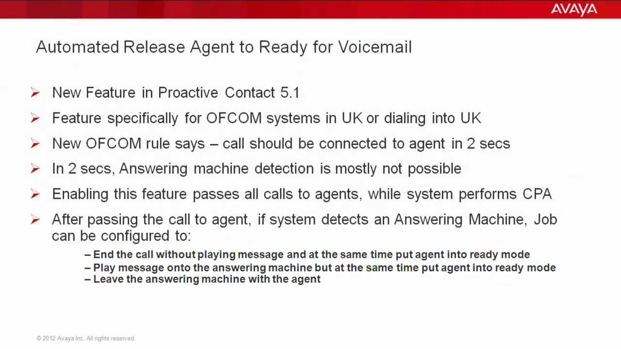 Automated agent release to ready for voicemail in avaya proactive automated agent release to ready for voicemail in avaya proactive contact 51 kristyandbryce Gallery