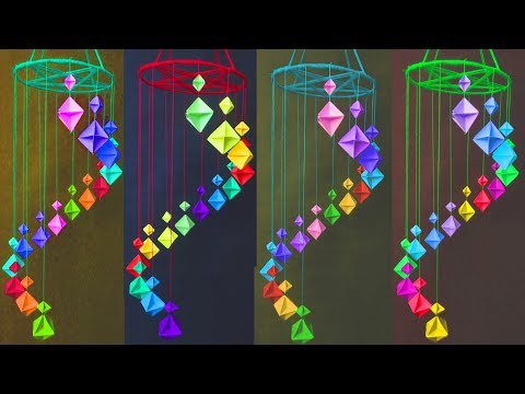 Paper wind chimes - How to make wind chime out of paper - Handmade paper wind chime || A art