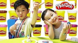 [공룡이 나타났다!] 플레이도우 눈사람 장난감 만들기 Make a Snowman Play Doh Игрушки 라임튜브 おもちゃ LimeTube & Toys
