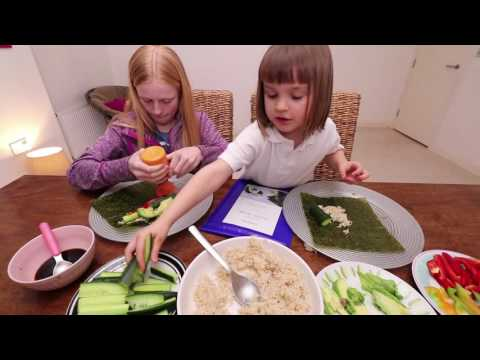 VEGAN KIDS Eat Dinner With Us (Sushi Night Mukbang) - Vegan World